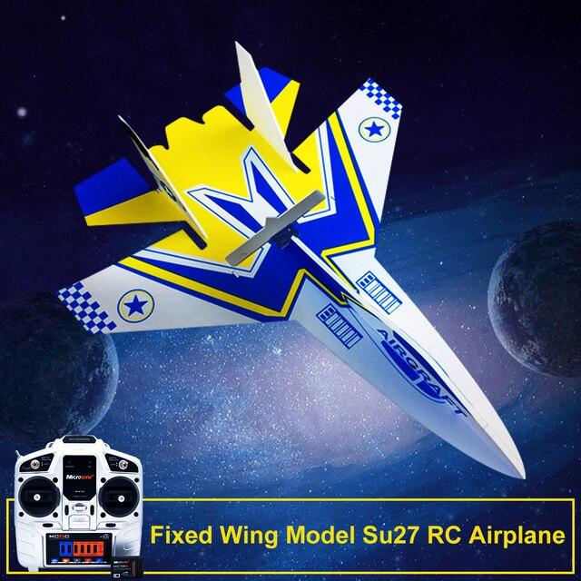 DIY RC 항공기에 대 한 수신기 및 구조 부품과 Microzone MC6C 송신기와 고정 날개 모델 Su27 RC 비행기