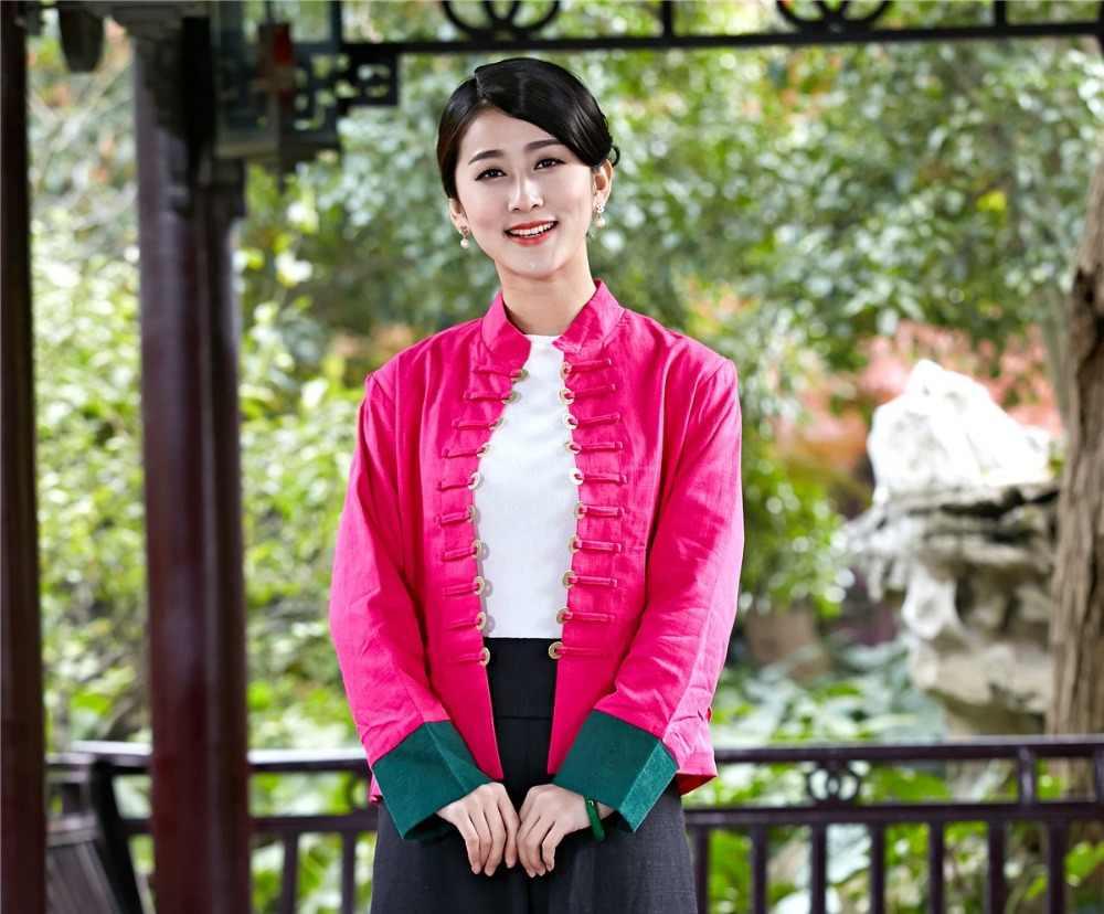 Shanghai Verhaal Vrouw Munten Gesp Jas Hoge Kwaliteit Linnen Casual Chinese Traditionele Kleding Voor Vrouwen Tops Roze