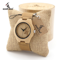 BOBO BIRD F29 Wooden Watch Ladies Engrave Deer Bamboo Dail Quartz Wristatch With Genuine Leather Band