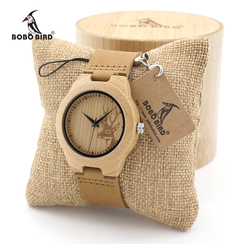 BOBO BIRD Wooden Watch Lovers Engrave Deer Bamboo Dial Quartz Wristwatch with Genuine Leather Band in Gift Box new arrival bamboo men wristwatch classic arabic number dial genuine leather band strap trendy gift quartz watch