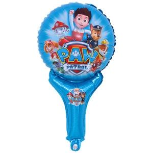 Image 5 - 7pcs Paw Patrol party balloons Paw Patrol Stick Foil Balloon Chase Marshall globos Balloon Birthday Party Supplies