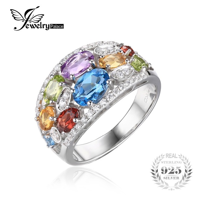 Jewelrypalace lujo 3.8ct multicolor natural amatista citrino granate peridoto topacio azul anillo de cóctel 925 mujeres de plata