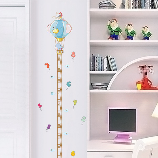 cartoon animals elephant cat height chart ruler wall stickers for kids rooms wall art decor height measure decals diy posters
