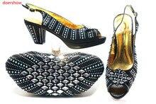 Doershow очень красивая черная обувь с подходящей сумкой, Лидер продаж, Женская подходящая обувь и сумка, итальянская обувь и сумки для вечерние...