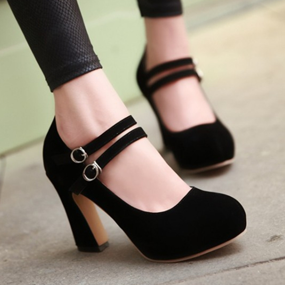 Ladies Black Heels - Qu Heel