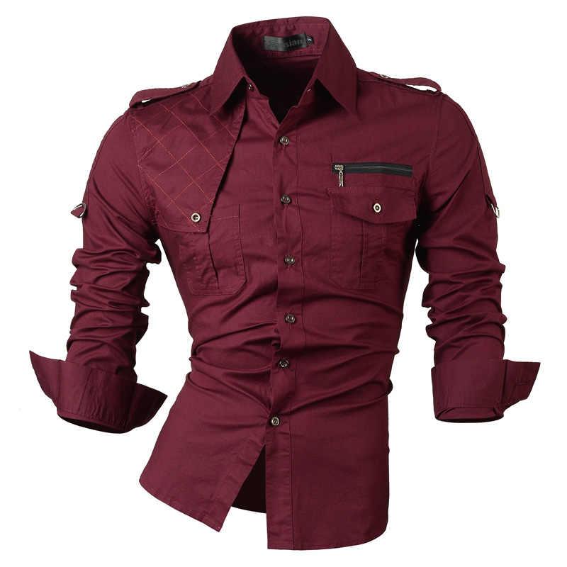 Jeansian Uomini di Vestito A Manica Lunga casual Camicette Slim Fit Moda di Design Alla Moda Militare 8371