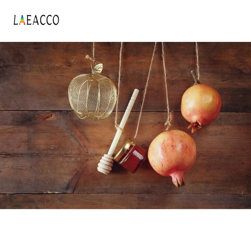 Laeacco Happy Rosh Hashanah Apple Honey Wall Portrait Photography Backgrounds Customized Photographic Backdrops For Photo Studio