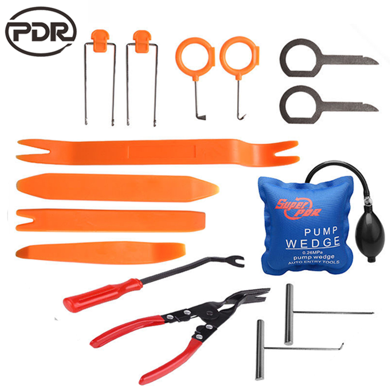 15 PCS /SET Locksmith Tools Super PDR Pump Wedge Lockpick Tools + Panel Removal Open Pry Car Dash Door Radio Trim Clip Tools Set(China)