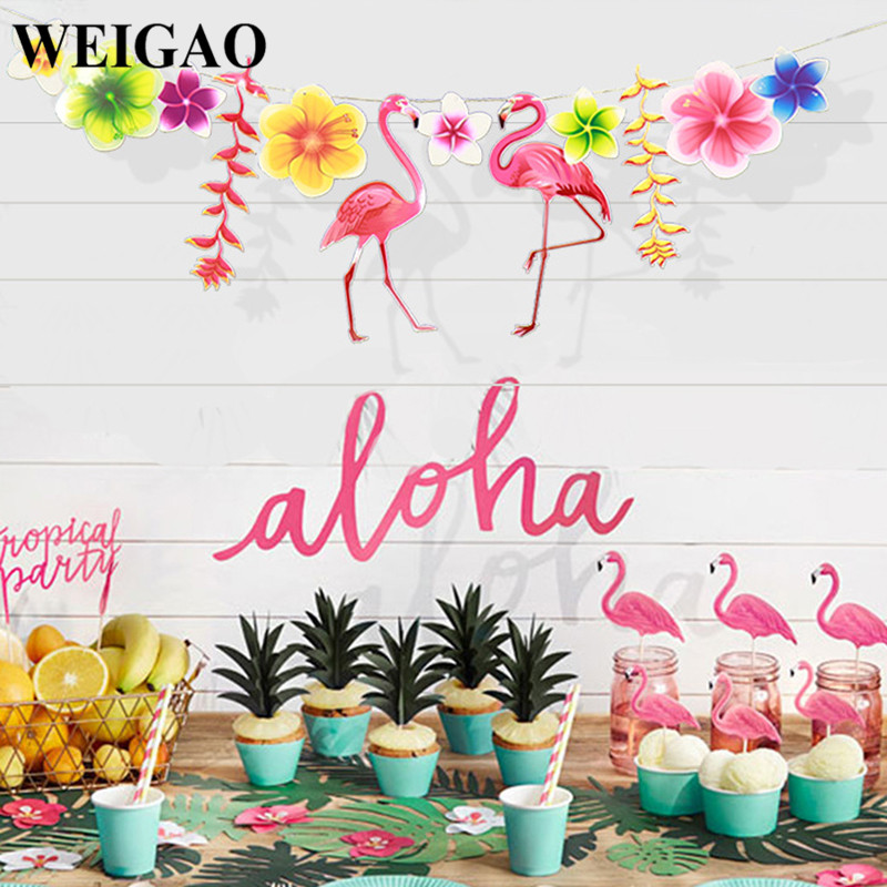 Cool Set M Tropical Leaves Flamingo Theme Party Banners Paper Flower  Garland Bunting Flags Wedding Decor Birthday Suppliesin Banners With M Wei  With Kche M ...