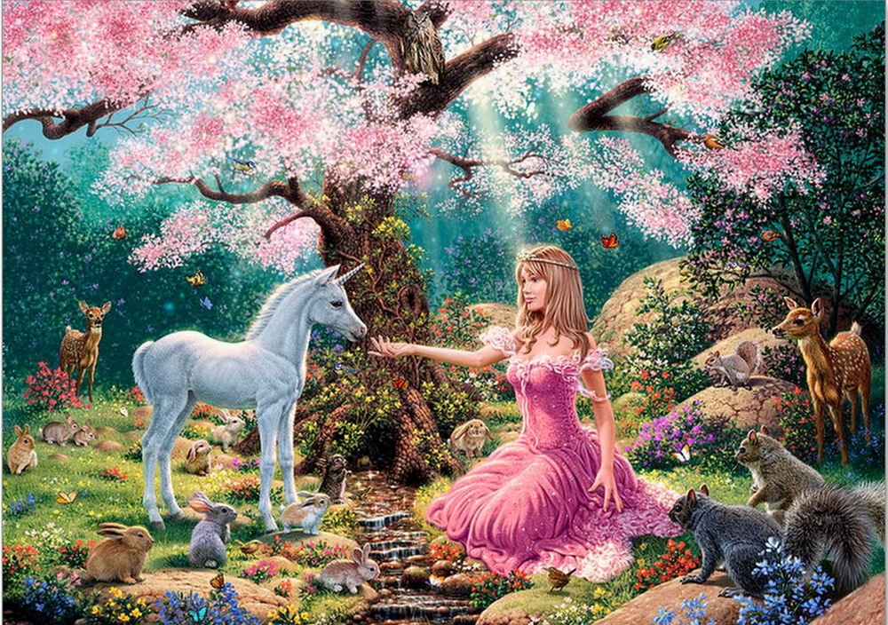 Forest Animals And Princess 5d Diy Diamond Painting Round