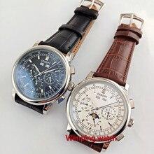 Известный бренд 42 мм deber белый циферблат Дата День кофе ремешок многофункциональные автоматические мужские часы