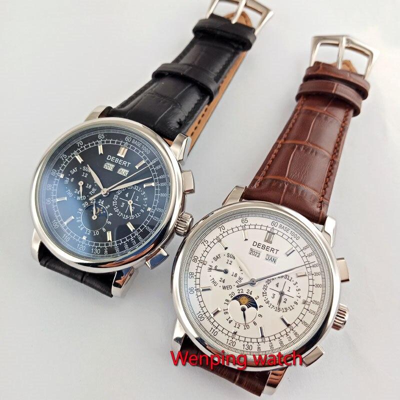 Reloj para hombre automático multifunción con correa de café para Día De fecha con esfera blanca de 42mm de marca famosa-in Relojes mecánicos from Relojes de pulsera    1