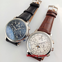 famous brand 42mm debert white dial date day coffee strap multifunction automatic mens