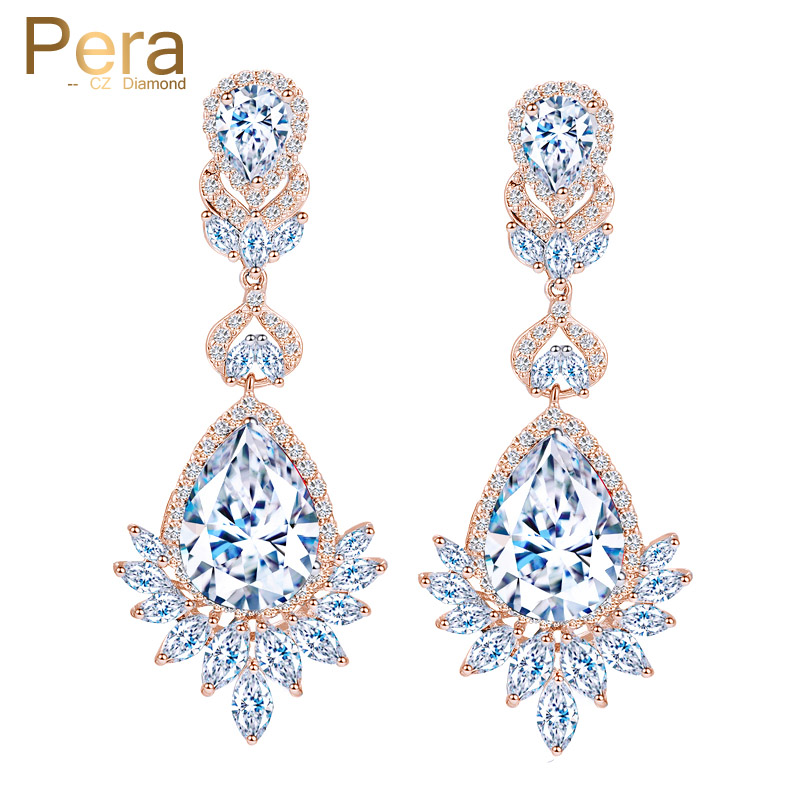 Pera Clic Dangle Bridal Jewelry Rose Gold Color Long Chandelier Cubic Zirconia Drop Earrings For Women Wedding Gift E318