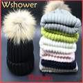 Big Real Raccoon Fur Pompom Super Warm Thicken Winter Hat Women Bobble Crochet Knitted Ski Beanies Skullies With Fur Pompon Ball