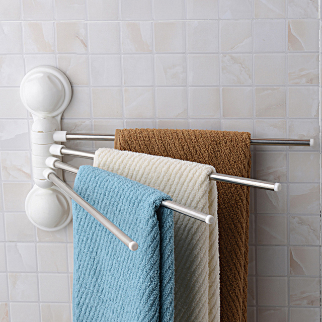 New Stainless Steel Towel Bars Rust Proof Suction Cup Rack 180 Degree Rotation Folding Arm