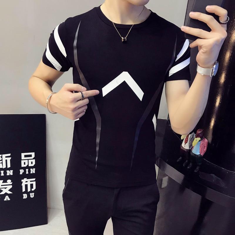 2018 summer new Hong Kong Tsai wind short-sleeved T-shirt personalized printing casual small fresh men's tShirt Slim T-shirt me 2