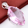 ENYA 1 Pcs New Fashion Wedding Jewelry Unique Horse eye Shaped Romantic Pink Synthetic Topaz Necklace Pendants For Women P0039