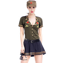 Umorden Carnival Party Halloween Female Aviator Pilot Costumes Army Solider Costume Women Cosplay Uniform Dresses
