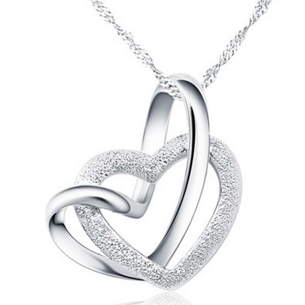 Hot Silver Color Stainless Steel Double Heart Cross Pendant Necklace For Woman Fashion Jewelry Drop Shipping Gift For Lover