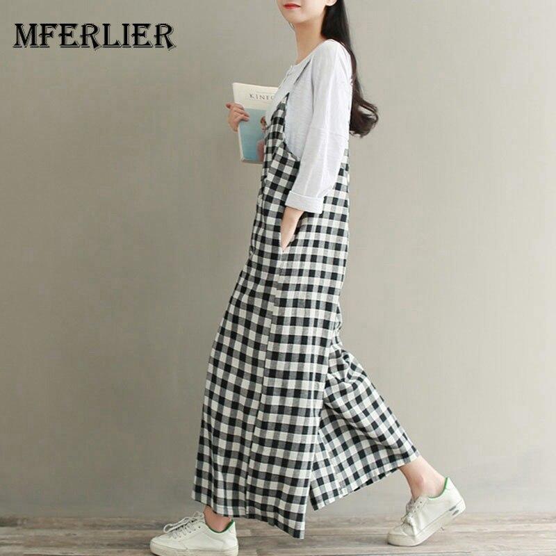 Mferlier Women Summer Cotton Linen   Wide     Leg     Pants   Plus Size Spaghetti Strap Patchwork Artsy Loose Casual Plaid   Pants