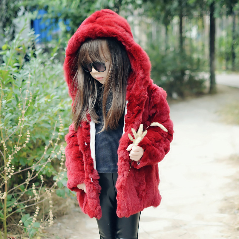 2017 rabbit fur coat jacket girl leather grass coat wine red natural rabbit fur coat girl jacket children casual warm clothes коляска трость baby care citystyle violet