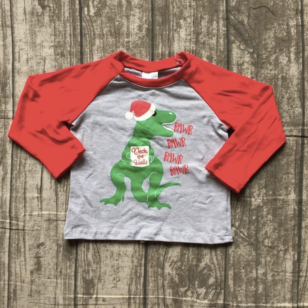 Nuova collezione autunno/inverno del bambino di Natale del ragazzo Dinosauro rosso grigio rawr deck the sale cotone boutique top T-Shirt raglans vestiti dei bambini