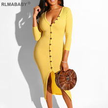 RLMABABY Knitted Ribbed V Neck Button Sexy Long Dress Women Slim Bodycon Party 2019 Autumn Winter Casual Streetwear