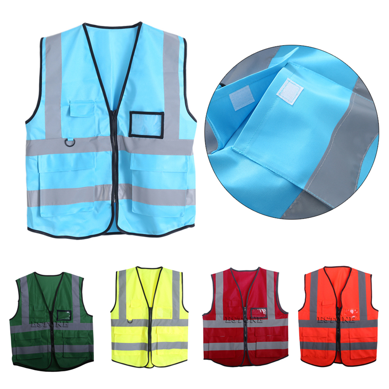Hi-Vis Safety Vest With Zipper Reflective Jacket Security Waistcoat 5 Pockets collar color block striped dress