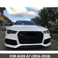 For Audi A7 S7 RS7 2016 2018 New ABS Black Painted Front Honey Mesh Grille Sedan Coupe Convertible Panoramic Camera 360