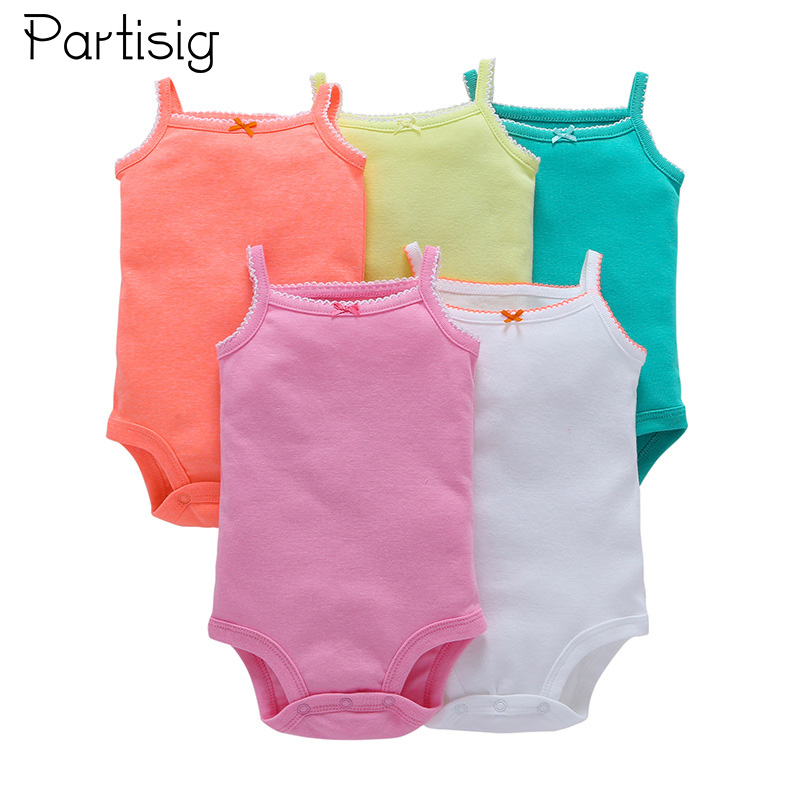 5PCS Assorted Baby Girl   Romper   Summer Sleeveless Infant   Romper   For Girls Cotton Strap Baby Clothes Roupa De Bebe