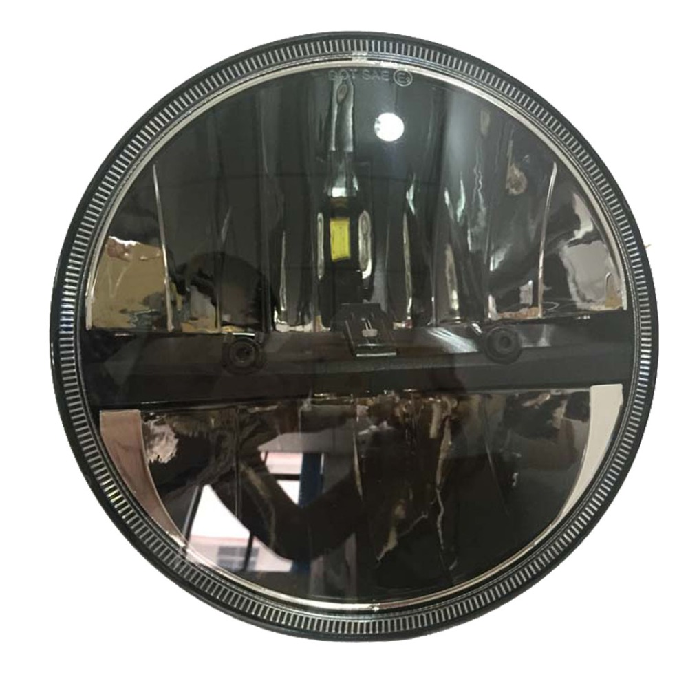 a pair 7 inch Round LED Headlight daymarker sealed beam Headlamp For jeep Wrangler HummerJK stylish hooded long sleeve drawstring mid length jeans coat for women