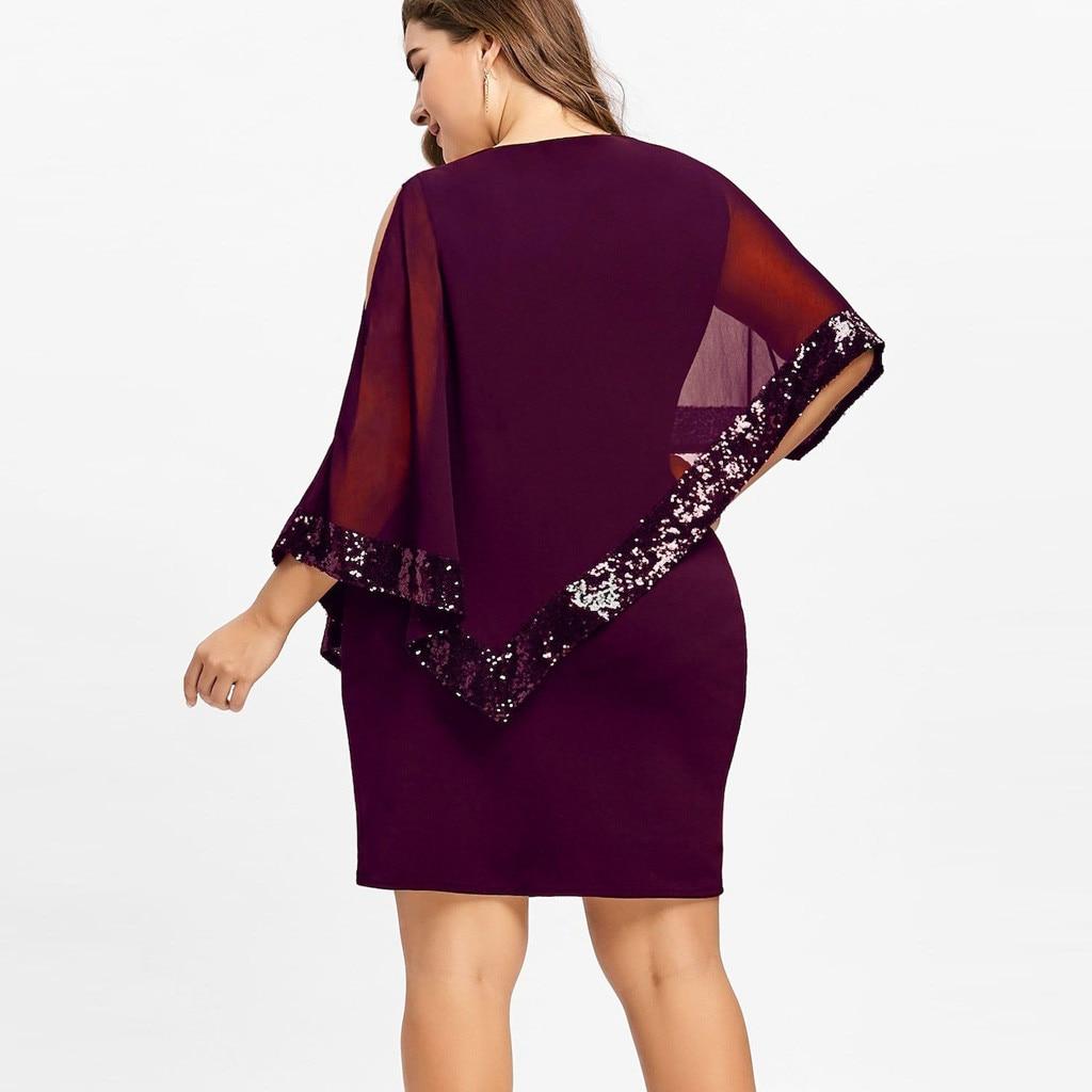 vestido de mujer Women Plus Size Cold Shoulder Overlay Asymmetric Chiffon Strapless Sequins Dress femme robe