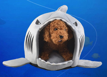 Dog Cat Bed Shark Mouse Shape Washable Dog house Pet Sleeping Bed Dog Kennel Pet Nest Removable Cushion Gray Blue Pink Colors 1