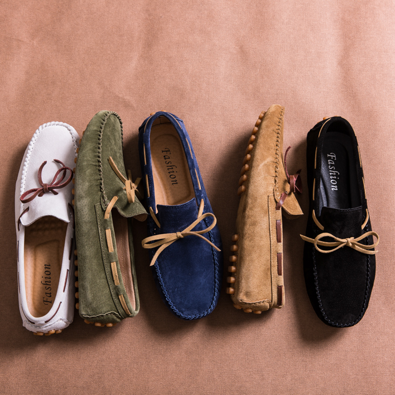 Mens Loafers Moccasins Driving-Shoes Casual-Shoes Lace-Up Italian Suede Designer Big-Size