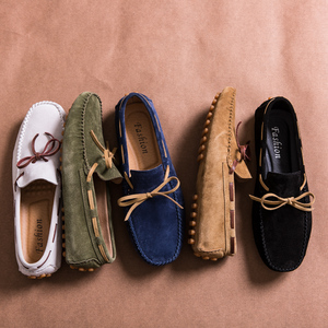 Image 1 - Designer Suede Leather Lace Up Men Casual Shoes High Quality Soft Mens Loafers Moccasins Italian Fashion Driving Shoes Big Size