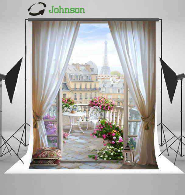 Outdoor Patio Paris Eiffel Tower Flower Leaves Curtains City backdrop polyester Vinyl cloth Computer print wedding Background