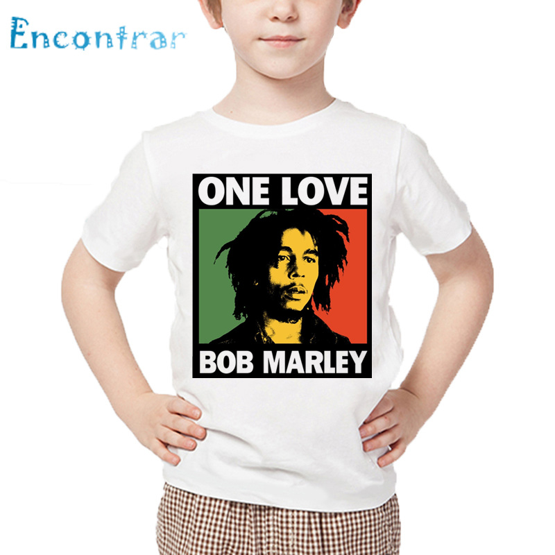 Kids Jamaica Singer Bob Marley Reggae Rastafari Print T shirt Children Summer White Tops Boys and Girls Casual T-shirt,HKP4118