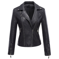 2017 New Autumn Leather Jacket Motorcycle Rider Coat For Female With Tailored Collar Zippers And Buttons