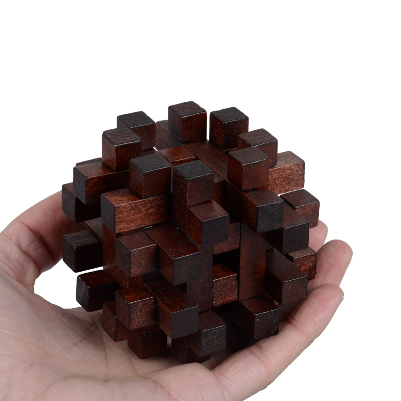 Wooden Toy Unlock Puzzle Key Classical Funny Kong Ming Lock Toys Intellectual Educational For Children Adults Stress Relief Toys