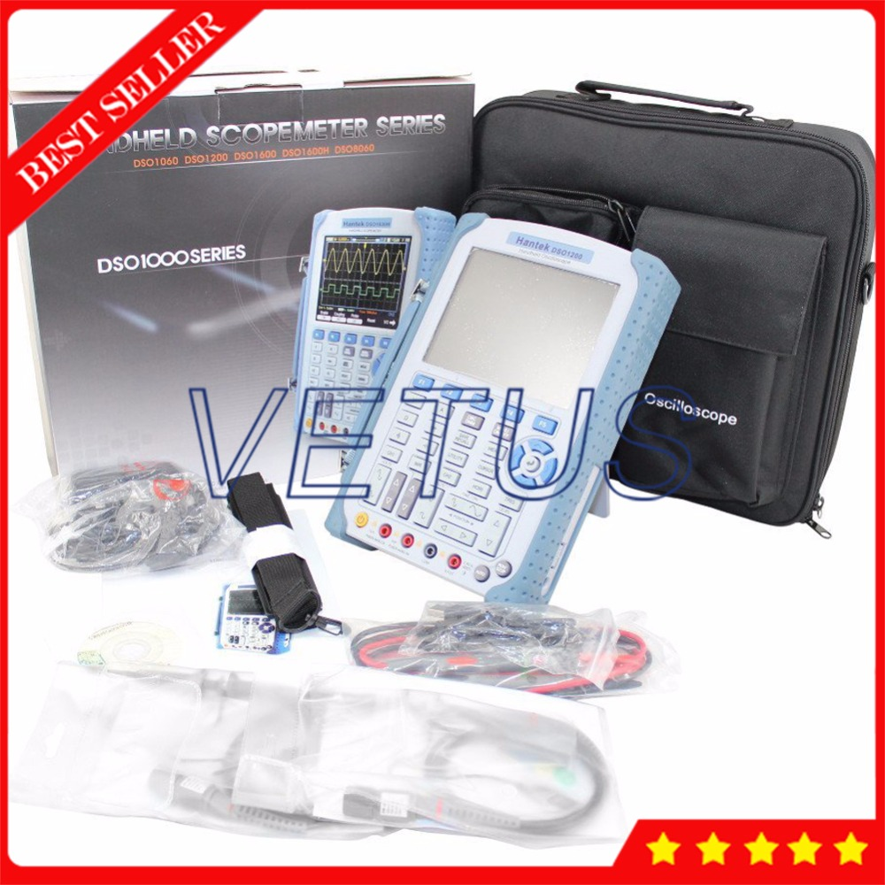 Portable Scopemeter Hantek DSO1200 USB HandHeld Digital Oscilloscope with 200MHz 500MSa/s 32K 2 Channel osciloscopio