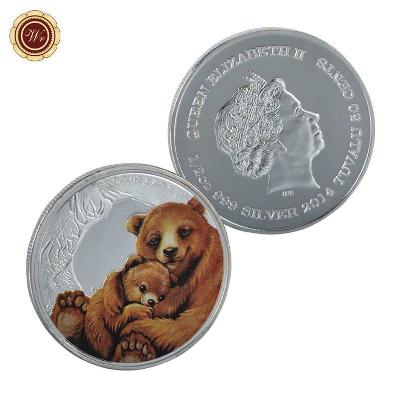 WR Queen Elizabeth II Challenge Silver Plated Metal Coin Cute Cartoon Brown Bear Colored Coin Qulity 999.9 Silver Coin