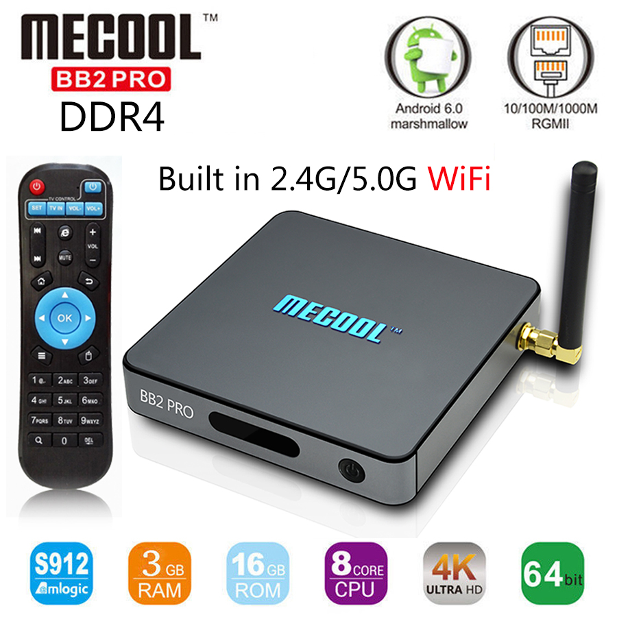 MECOOL BB2 Pro Amlogic S912 Octa core Android 6.0 TV BOX DDR4 3G 16G UHD 4K WiFi Gigabit LAN Smart Tv box Android TV Set Top Box smart box tv amlogic s912 octa core 2g 16g tv box android 6 0 4k tv box 2 4g 5g wifi bluetooth 1000m lan android tv box