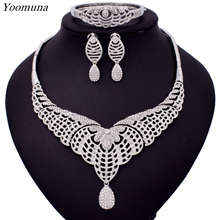 2019Indian style wedding jewelry sets Clear Crystal Rhinestones necklace earrings set for women bridal party jewelry accessories gorgeous crystal bridal jewelry sets wedding necklace earring set for brides party accessories rhinestones decoration gift women