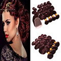 Indian Burgundy Indian Virgin Hair 99J With Closure Body Wave Closure With  4 Bundles Red Wine Human Hair Indian Weaving