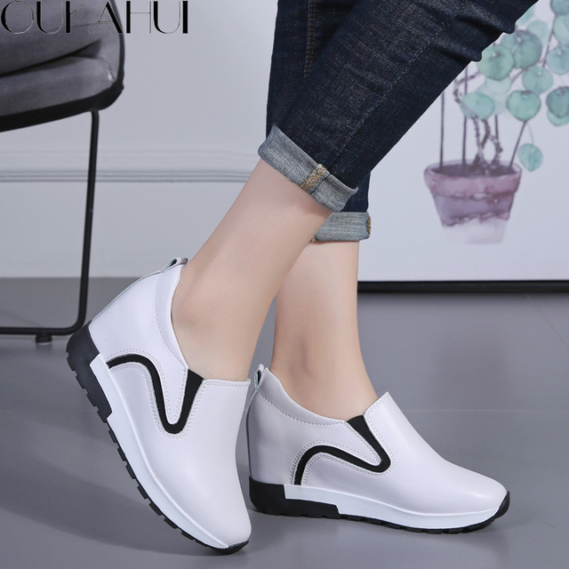 808f5a684757 OUKAHUI Autumn Spring Genuine Leather Height Increasing Shoes For Women  Flat Platform Slip On White Loafers Women Shoes Leisure