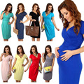 New Hot Candy Colors Slim Pregnant Women Summer Maternity Dress V Neck Short Sleeve