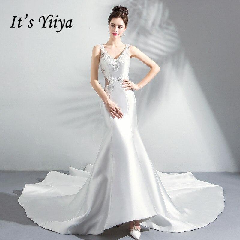 4952092ac3bd9 It's Yiiya Wedding Dress 2018 White Mermaid Trailing Simple V-neck Train  Sleeveless Sex Plus size Quality LX1228 Wedding Dresses