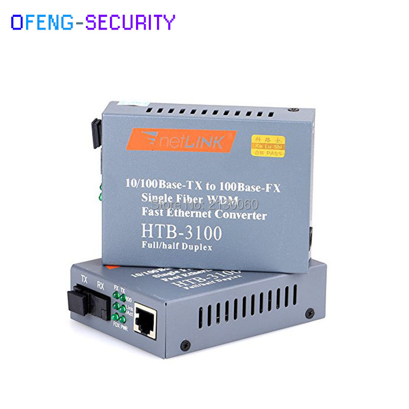 Ethernet Fiber HTB-3100AB Optical Fiber Ethernet Media Converter 1Pair Singlemode Single Fiber SC 25km 10/100M