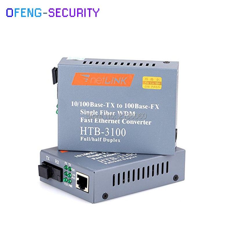 Ethernet Fiber HTB-3100AB Optical Fiber Ethernet Media Converter 1Pair Singlemode Single Fiber SC 25km 10/100M